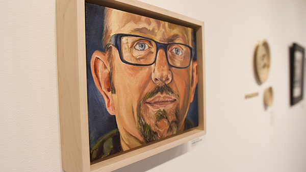 'Familial Faces: Gary' by Connie Connally hangs in the Atkinson Gallery at Santa Barbara (Calif.) City College.  The Small Images exhibit will continue until Nov. 1, 2013.