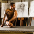 Nude Model, Chaye Tione Alexander, poses for figure drawing on April 9, at the Schott Center, in Santa Barbara. Alexander poses on a regular basis for a variety of art mediums and City College classes.