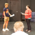 Julius Martin performs his scene with Mahealani Ciabattoni for Michael Gros, auditioning for the student showcase production 'Ten Red Kings,' on Tuesday, Sept. 9, in the Jurkowitz theatre at City College.