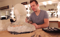Theatrical makeup student builds masks from scratch