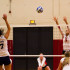 Middle blocker Isabella Thompson (No. 5) misses the ball from College of the Canyons player Emily Bible (No. 17) near the end of the fourth set, Tuesday, Dec. 1, in the Sports Pavilion at Santa Barbara City College. The Cougars beat the Vaqueros, 3-1.