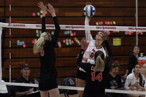 Freshman volleyball player records a career-high in blocks