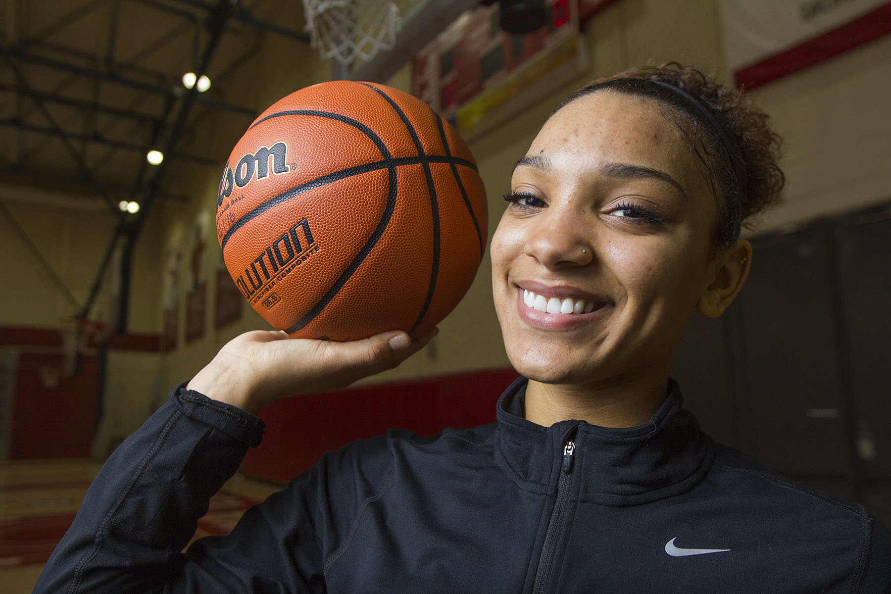 Destinee King, City College basketball player, on Friday, Feb. 3, 2017, in the Sports Pavilion at Santa Barbara City College. King won the Santa Barbara Round Table Athlete of The Week award.