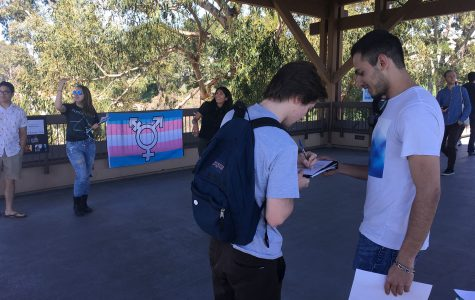 Students rally on SBCC bridge for more gender neutral bathrooms