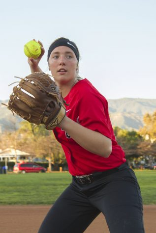 Freshman Vaquero Alyssa Richter on Wednesday, March 1, at Pershing Park. Richter has gotten at least one hit in 8 of 9 games this season.