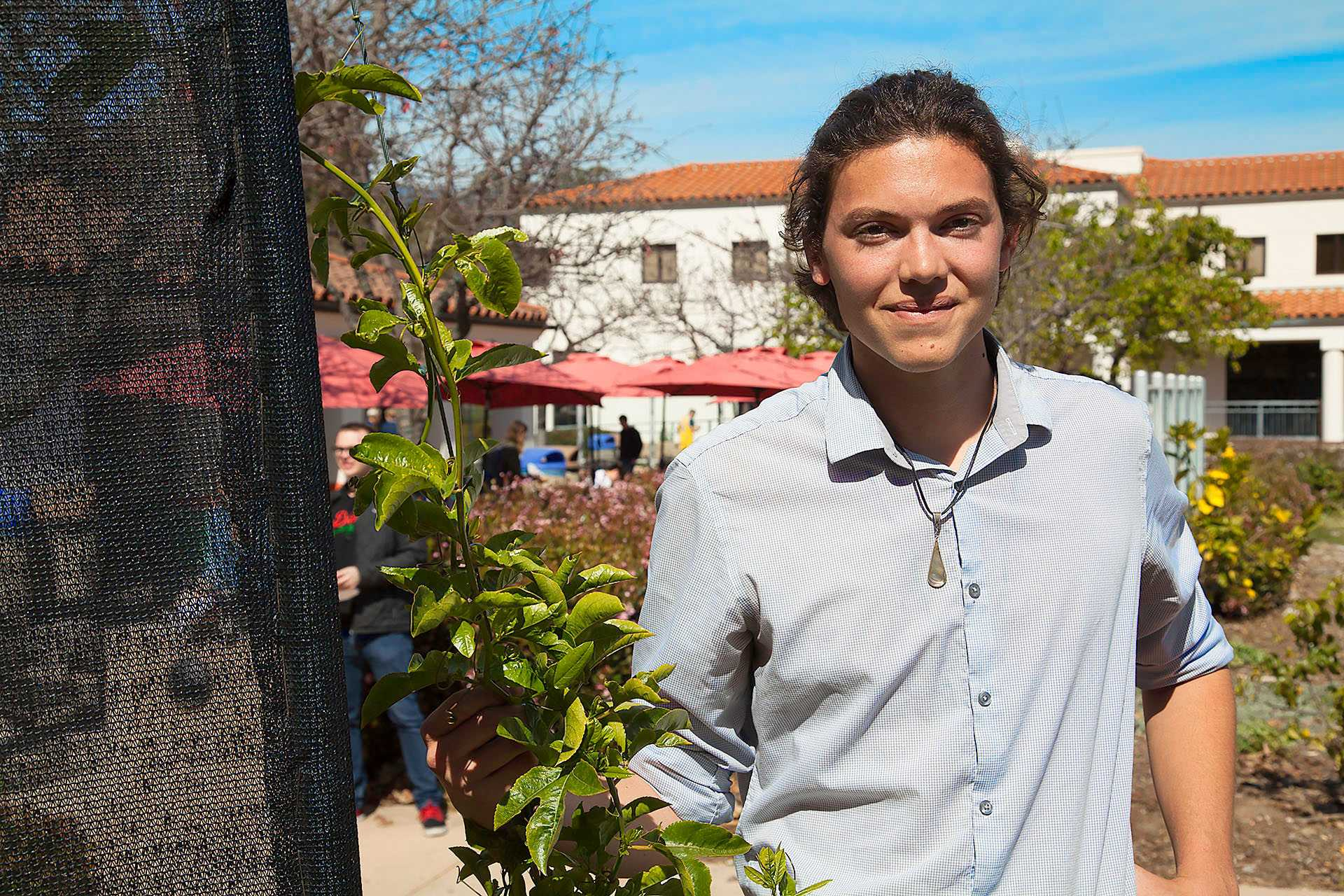 Jackson Hayes in the Permaculture Garden besides the fog catcher and his favorite plant on Tuesday, March 7, outside the West Campus Cafeteria. Hayes is the new student senate commissioner of sustainability and he has been on the student sustainability coalition for two years.