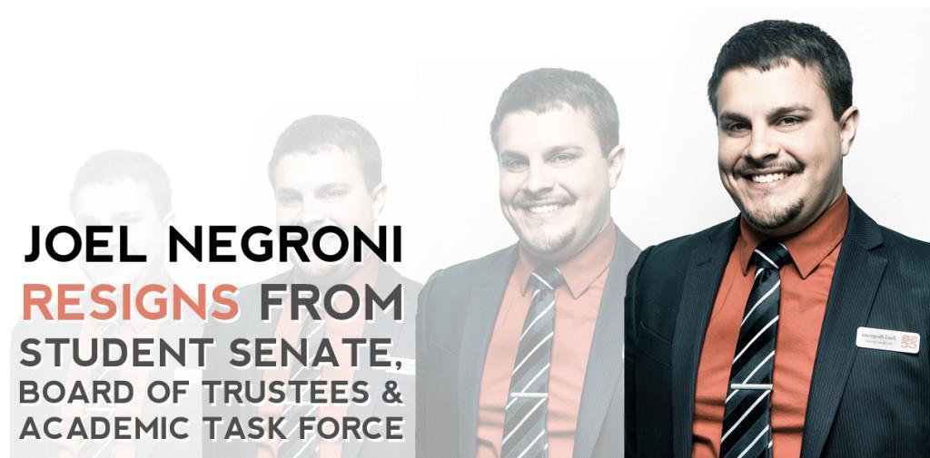 Student-Trustee Negroni resigned from board, senate