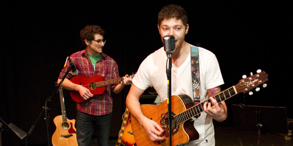 Evan Vogel (right) and Zac Vogel, perform during the free concert put on by the Music 128a class, March 8, 2013, in the Jurkowitz Theatre at Santa Barbara City College.