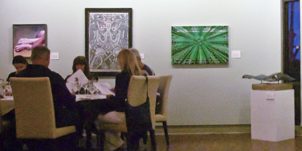 Student art displayed  in the John Dunn gourmet dining room