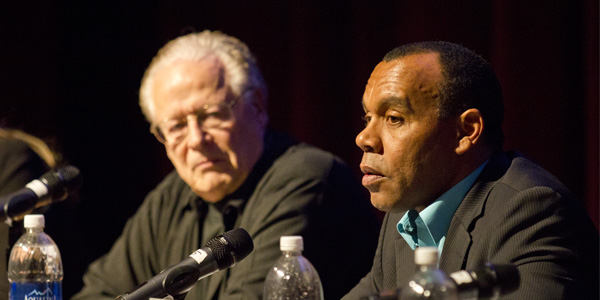 Hollywood dynamos discuss media violence in Garvin Theatre