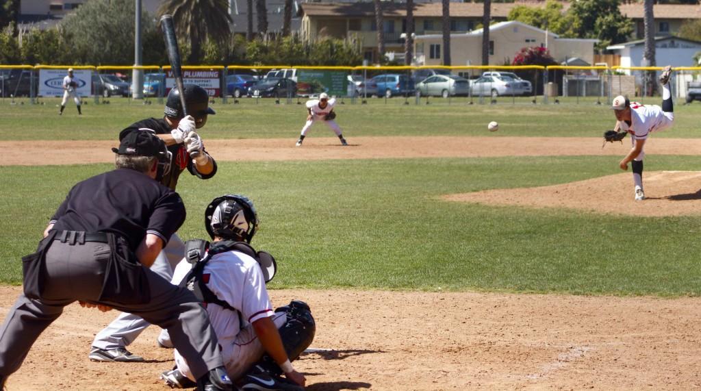 Tyler+Gilbert+%28No.+12%29+pitches+against+Ventura+College+at+Pershing+Park+in+Santa+Barbara%2C+Calif.+April+6%2C+2013.+