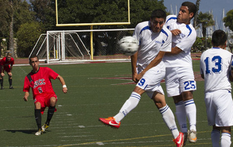 Vaqueros midfielder Alex Santana, No. 6, shoots a penalty kick directly at opponent causing the ball to deflect off of leading to a goal in the first half during the soccer match at La Playa Stadium on Sept. 17,2013, in Santa Barbara, Calif.