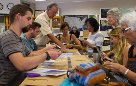 Volunteers create models of the pacific plate during a Plate Tectonics Workshop in the Earth and Biological Sciences building at City College in Santa Barbara, Calif. on Sept. 6, 2013.