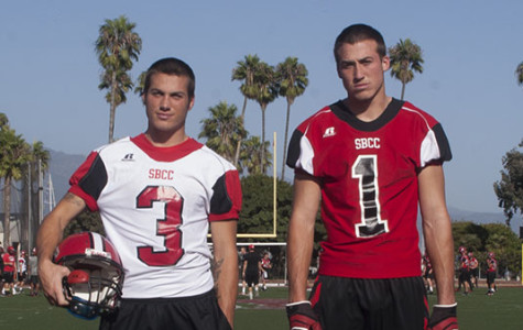 Santa Barbara City College football players Jacob Arnell (left) and Zack Arnell (right) are ready for practice at La Playa Stadium on Oct. 4, 2013, in Santa Barbara, Calif.