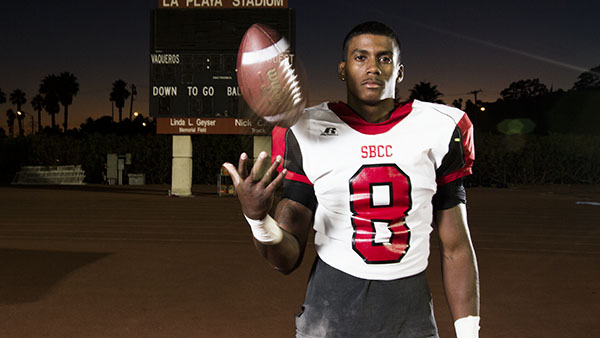 Vaqueros quarterback Jarred Evans was the Offensive Player of the Week in the American Pacific Conference for two straight weeks. He stands at City College's La Playa stadium on Oct. 16. The Vaqueros will host Santa Monica at 1 p.m. Nov. 2.
