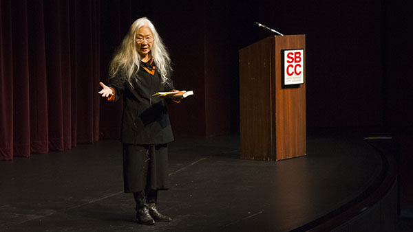Award-winning author Maxine Kingston speaks at Garvin Theatre on Friday, November, 8, 2013, in Santa Barbara, Calif.