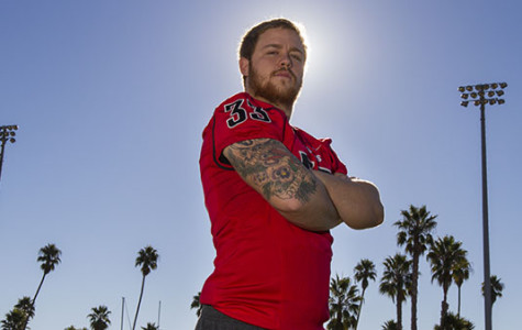 Vaqueros linebacker Morgan Nevin, No. 33, at La Playa stadium in Santa Barbara, Calif. on Monday, Nov. 25, 2013. Morgan led his team in tackles during the Vaqueros 2013 football season.