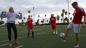 At La Playa Stadium, international students from left Fanny Johannson, Emilie Nettyberg, Mike Peterson, and Adam Colton come together to represent a variety of sports of football, soccer, and Golf on Nov. 21.