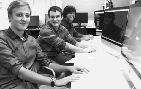On city college campus, students from the ICPC challenges panning from front to back, Erwan Lent, Joel Green, and Ben Rhoda look tab the screen in amazement in the ECC lab on Nob. 21, 2013.