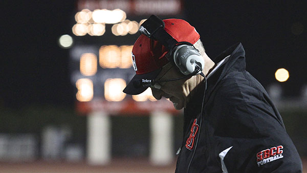 Vaqueros Head Coach Craig Moropoulos frustrated over his team losing against Glendale College on Saturday Nov. 9, at La Playa Stadium in Santa Barbara, Calif. Glendale College defeated the Vaqueros, 17-24.