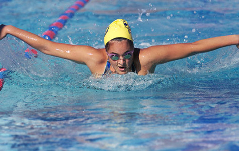 Lauren Shackelford practices the butterfly stroke at San Marcos High School in Sept. 27, 2013, in Santa Barbara, Calif.