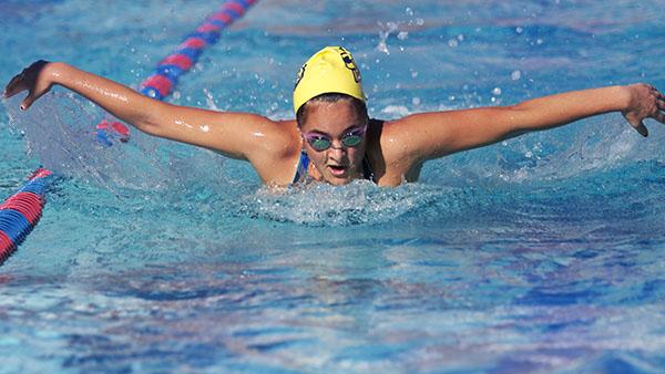 Lauren Shackelford practices the butterfly stroke at San Marcos High School in Sept. 27, 2013, in Santa Barbara, Calif.