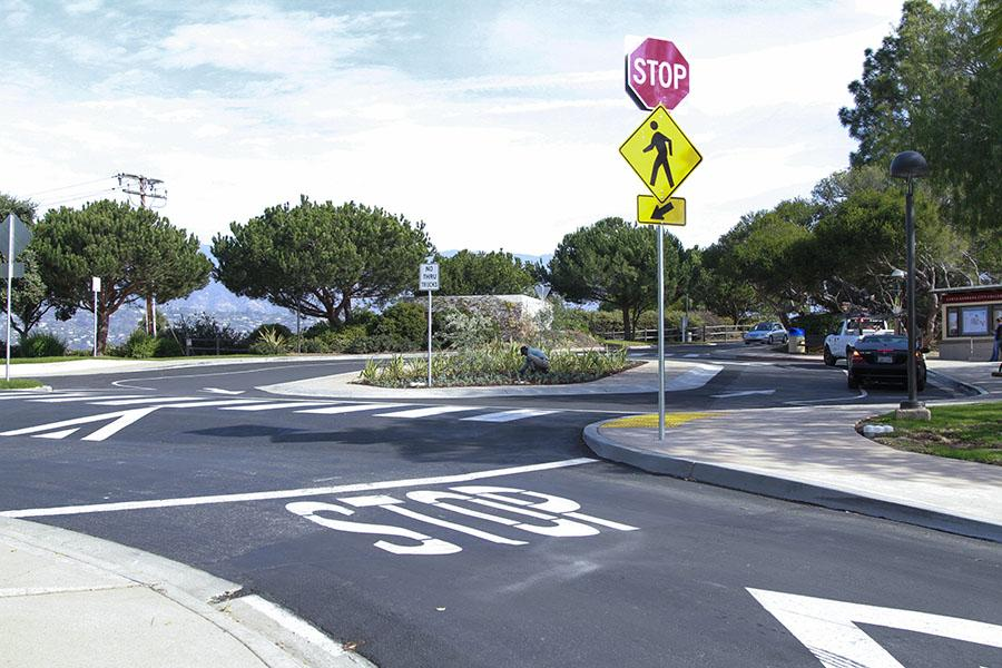 The new roundabout on the East campus gives students the opportunity to get dropped off quickly and easily, getting them right where they need to be.