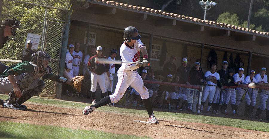 Matt Henderson (No. 6) hits a single at the game against Napa Valley College on Feb. 1, at Pershing Park in Santa Barbara. The Vaqueros won the second game of the three-game series 7-5.