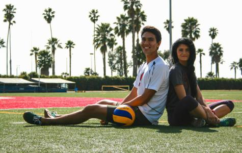 City College volleyball player, Evan Yoshimoto, 20, and track and field runner, Amy Connor, 19, celebrate the recognition of their teams by the California Community College Athletic Association as Scholar Team recipients on Feb, 20, at La Playa Stadium.