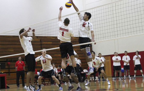 Owen Yoshimoto (No.2) blocks the ball against Palomar College earning the Vaqueros a point on Tuesday, Feb. 11, 2014, in the Sports Pavilion at City College in Santa Barbara, Calif.