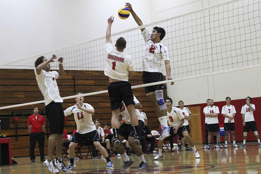 Owen+Yoshimoto+%28No.2%29+blocks+the+ball+against+Palomar+College+earning+the+Vaqueros+a+point+on+Tuesday%2C+Feb.+11%2C+2014%2C+in+the+Sports+Pavilion+at+City+College+in+Santa+Barbara%2C+Calif.