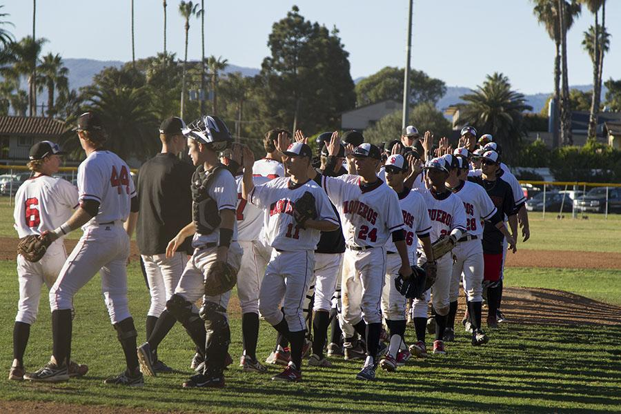 The Vaqueros celebrate their victory on Saturday, Feb. 1, 2014, at Pershing Park in Santa Barbara, Calif.  City College won the three-game opening series against Napa Valley College.