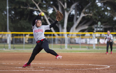 Celeste Acosta (No.1) pitches the ball during the Vaqueros' win against L.A. Mission College on Tuesday, Feb. 11,  2014, at Pershing Park in Santa Barbara, Calif.  City College won 9-5.