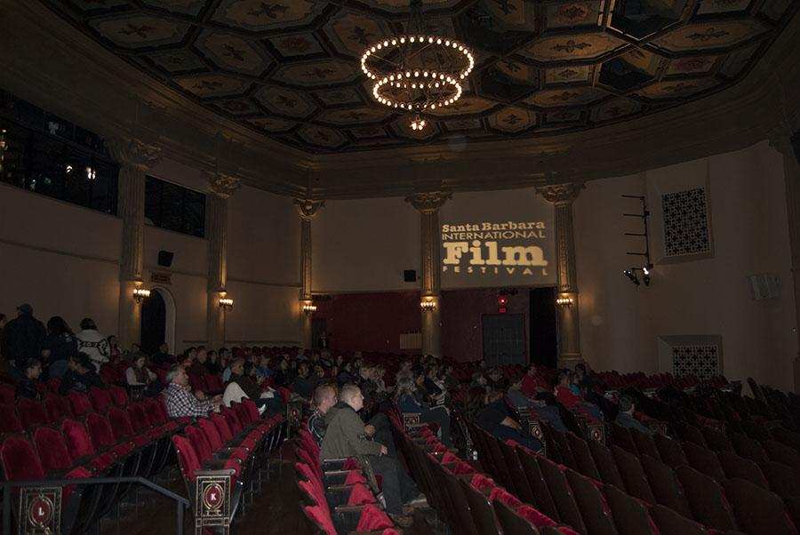 The audience finds seating inside the remodeled Lobero Theatre with room for 600 people on Sunday Feb. 9 for the Youth CineMedia documentary showcase, bringing