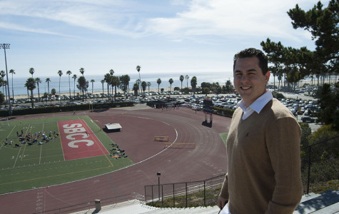 Michael Medel hangs out at La Playa Stadium on Thursday, Feb. 13, in Santa Barbara. From 1996-97 Medel ran the 100m and 200m sprints, as well as both relay events for the Vaqueros.