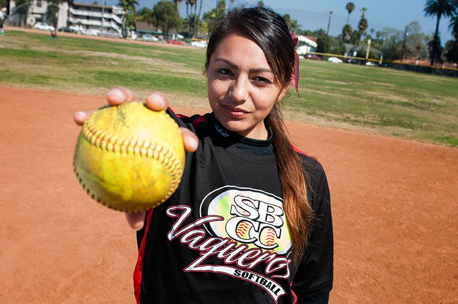 Vaqueros softball pitcher Celeste Acosta holds up a ball at Pershing Park on Feb. 23, in Santa Barbara. Acosta's four victories have accounted for all of the Vaqueros wins this season.