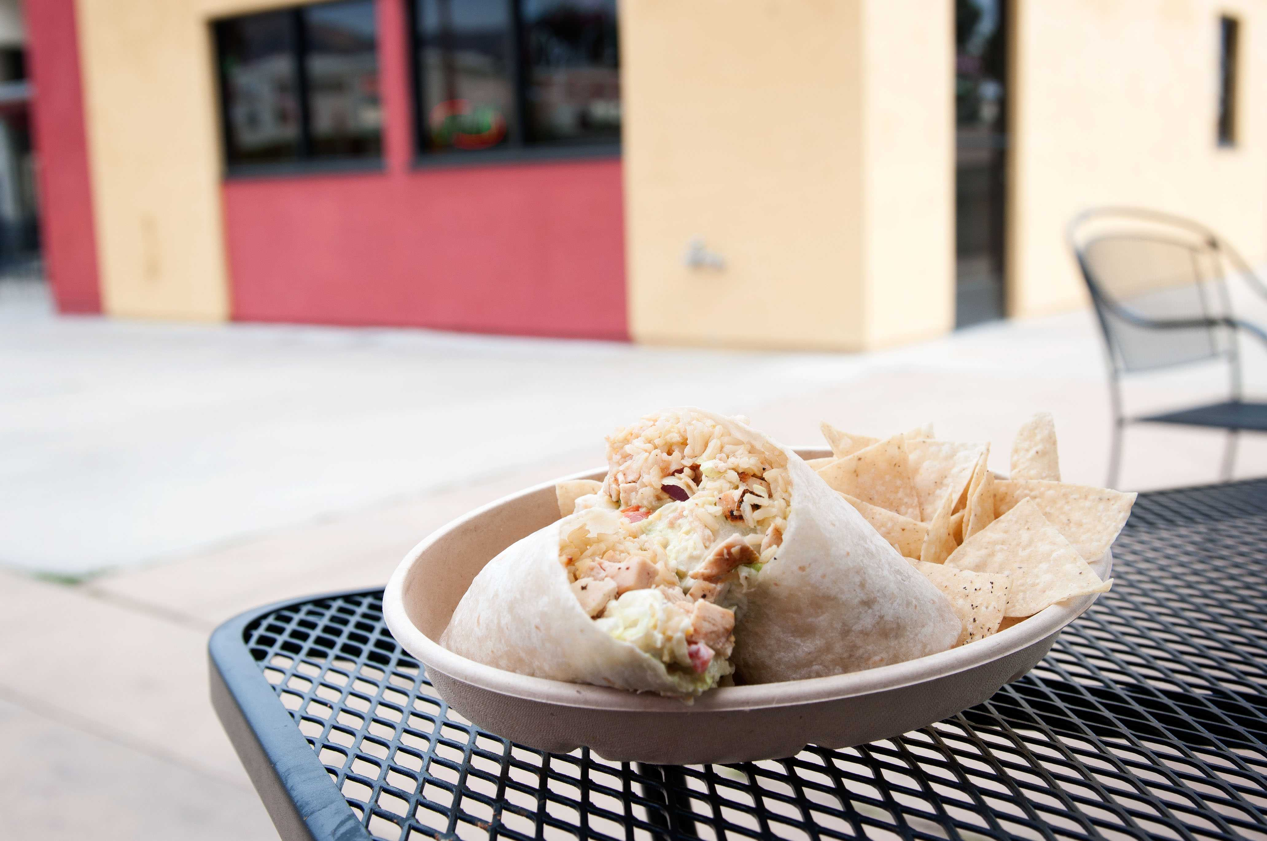 A chicken burrito is one of eight items on the menu at the new Burrito Shack on East Campus. The Burrito Shack opened in January and is City College's newest eatery.