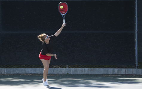Teresa Downey serves the ball during a match against Antelope Valley Tuesday, March 18, at Pershing Park in Santa Barbara. The Vaqueros won, 7-2, and Downey remained undefeated in conference play.