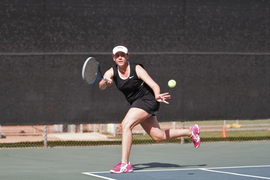 Women's tennis captain Gabriela McDaniel rushes to return a serve in a match against Glendale College Tuesday, March 4, at Pershing Park in Santa Barbara. City College fell 1-8 to Glendale and is now 1-5 on the year.