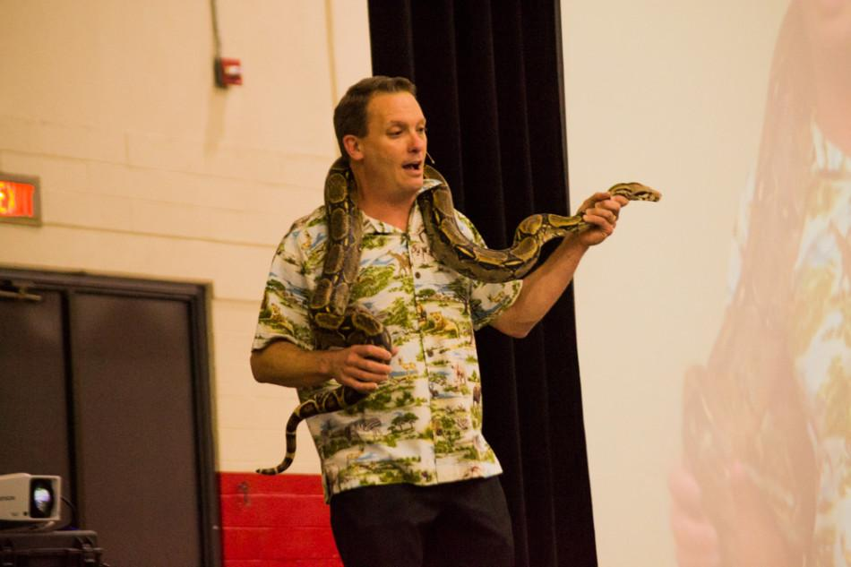 Blake Barron, biology professor speaks at the City College's 35th Annual Faculty Lecture, in the Sports Pavillion on East Campus, Wednesday, March 12.