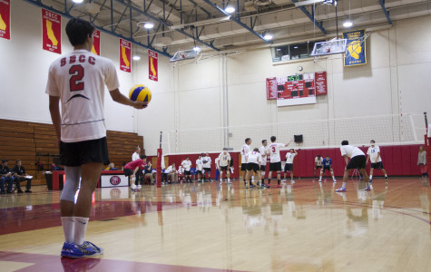 Vaqueros Freshman Owen Yoshimoto gets ready to serve the ball in the game against Santa Monica College Friday, March 21, at the Sports Pavilion in Santa Barbara. Yoshimoto finished with a season high 16 kills but the Vaqueros lost 2-3.