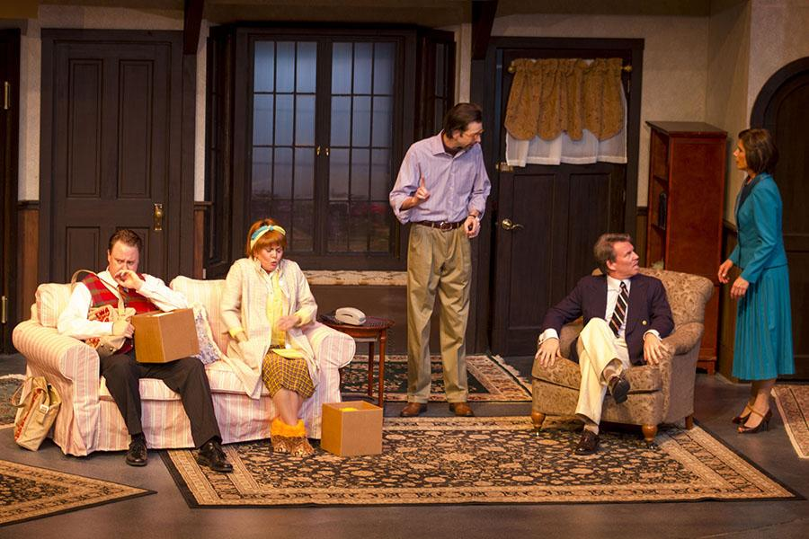 From left, Sean Jackson, Ann Dusenberry, Jay Carlander, Raymond Wallenthin and Polly Firestone Walker run through their last dress rehearsal for 'Noises Off,' on Tuesday March 4, inside the Garvin Theatre at City College. 'Noises Off' runs from March 5 through March 22.
