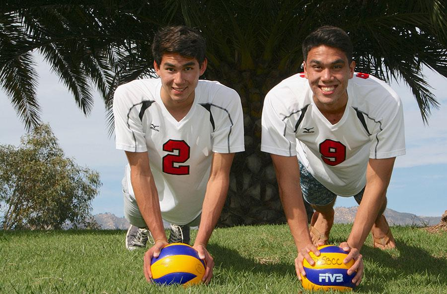 Men's Volleyball players Owen Yoshimoto (left) and Evan Yoshimoto pose on Friday, March 7, at Santa Barbara City College. The team is 6-4 on the season.