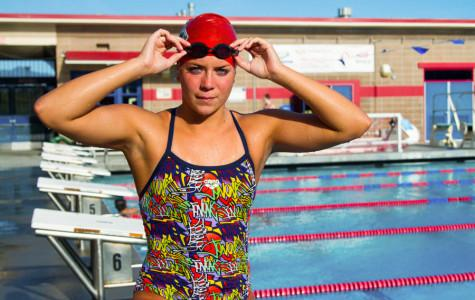Vaqueros swimmer, Rachelle Visser, 19, stands at the San Marcos High School pool, on Thursday, March 6. Visser won first place at the WSC meet on Feb. 28.