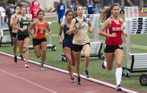 City College sophomore distance runner, Nicole Bartlett (No. 5), competes in the 1500-meter event at La Playa Stadium on Friday, March 21, in Santa Barbara. Bartlett finished first in the event with a time of 4:59.70.