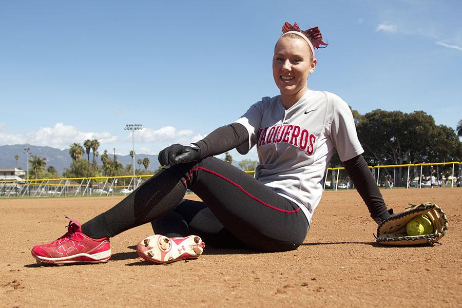City College softball player, Emma Tegth Nordin (No. 8), sits on the field on March 6, at Pershing Park in Santa Barbara. Nordin also plays for the Swedish National Team and plans to play in the European Championship next summer.