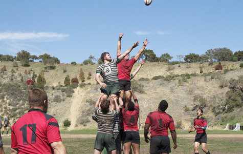 Santa Barbara Rugby Academy prop Mahlik Brewster-Blake (No. 4) holds up teammate Sean Gorman in a lineout to gain posession against Dartmouth on Thursday, March 20, at Elings Park in Santa Barbara. Santa Barbara won the match versus Dartmouth, 48-22.