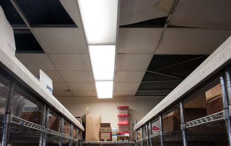 The ceiling in the Culinary Arts Department's storeroom is collapsing because of water damage in City College's Campus Center on March 14. City College has received $20 million from the state to reconstruct the Campus Center, since the building's considered unsafe.