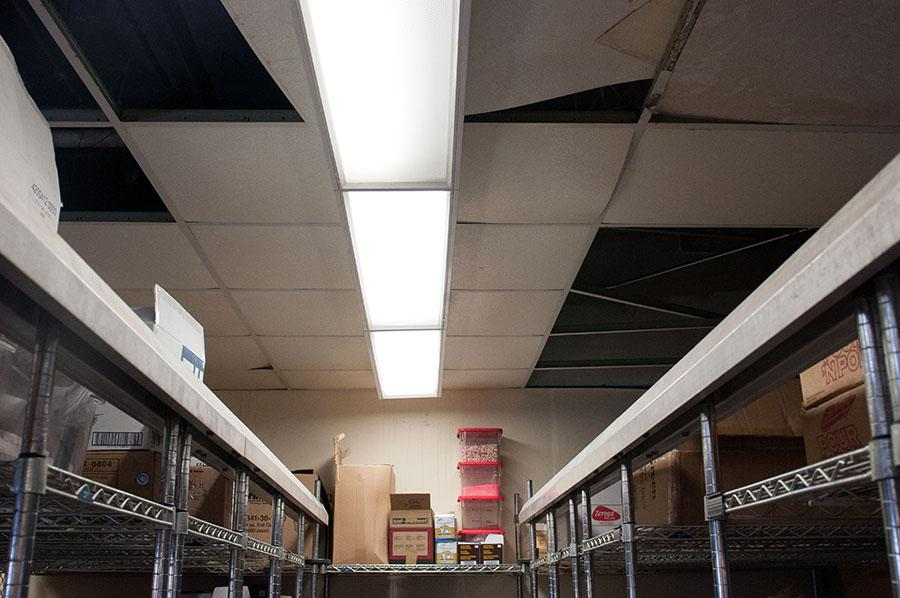 The+ceiling+in+the+Culinary+Arts+Department%E2%80%99s+storeroom+is+collapsing+because+of+water+damage+in+City+College%E2%80%99s+Campus+Center+on+March+14.+City+College+has+received+%2420+million+from+the+state+to+reconstruct+the+Campus+Center%2C+since+the+building%E2%80%99s+considered+unsafe.