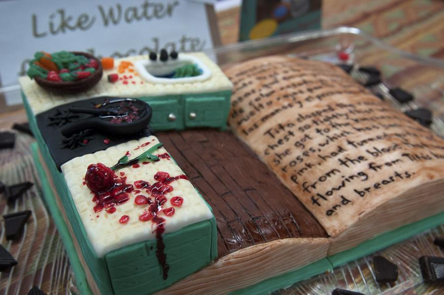 City College student Lauren Peiker, 22, cake was inspired by the popular Mexican novelist Laura Esquivel's book 'Como agua para chocolate.' The book's title means 'Like Water for Chocolate.' Peiker's cake won as The Best Cake in the Show.